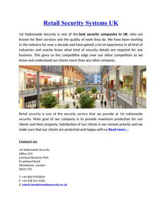 Retail Security Systems UK