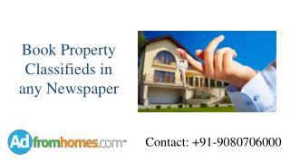 Book Property classifieds in all Indian Newspapers
