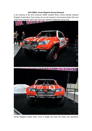 2015 SEMA: Honda Ridgeline Racing Released