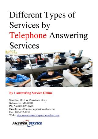 Different types of Services by Telephone Answering Services