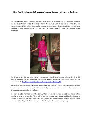 Buy Fashionable and Gorgeous Salwar Kameez at Satrani Fashion