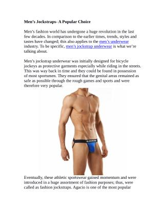 Men's Jockstraps- A Popular Choice