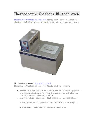 Thermostatic Chambers BL test oven for sale
