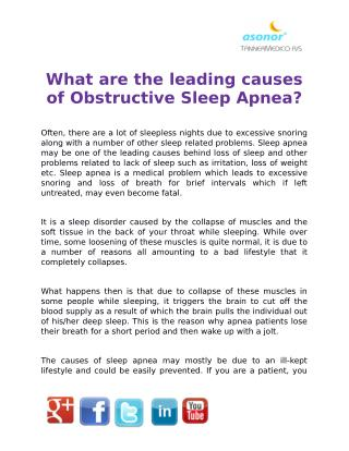 What are the leading causes of Obstructive Sleep Apnea?