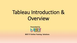 Tableau introduction & Overview