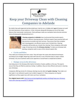 Keep your Driveway Clean with Cleaning Companies in Adelaide