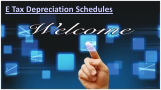 E Tax Depreciation Schedules is best adaptable associations.
