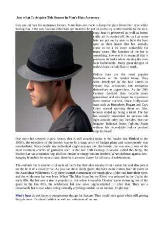 Just what To Acquire This Season In Men's Hats Accessory