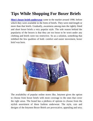 Tips While Shopping For Boxer Briefs