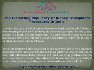 The Increasing Popularity Of Kidney Transplants Procedures In India