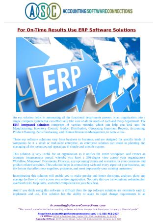For Efficient On-Time Results Use ERP Software Solutions!