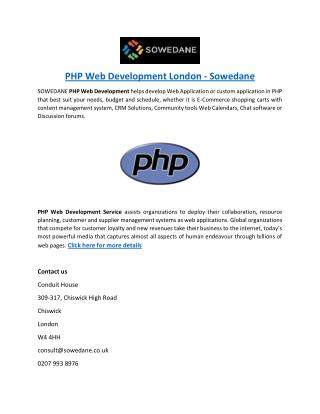 PHP Web Development London - Sowedane