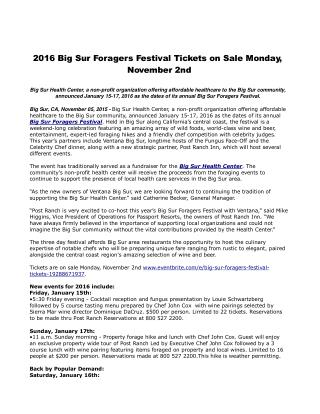 2016 Big Sur Foragers Festival Tickets on Sale Monday, November 2nd