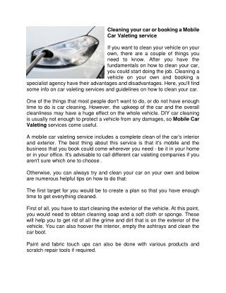 Cleaning your car or booking a Mobile Car Valeting service