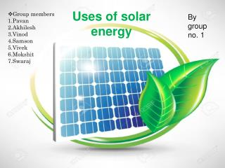uses of solar energy
