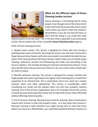 What are the different types of House Cleaning London