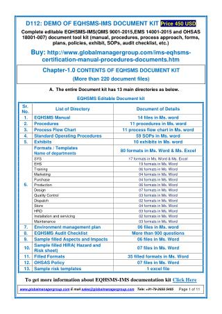 EQHSMS Documentation Kit