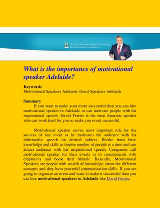 What is the importance of motivational speaker Adelaide?