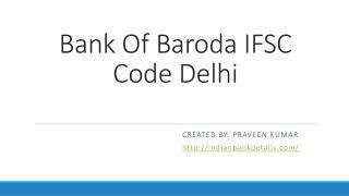 Bank of baroda ifsc code delhi