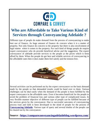 Who are Affordable to Take Various Kind of Services through Conveyancing Adelaide ?