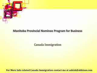 Manitoba Provincial Nominee Program for Business