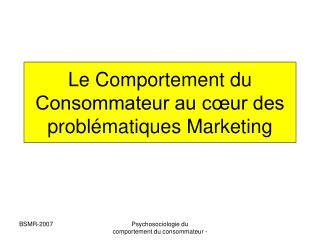 Le Comportement du Consommateur au c ur des probl matiques Marketing