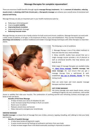 Massage therapies for complete rejuvenation!
