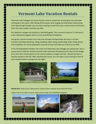 Vermont Lake Vacation Rentals