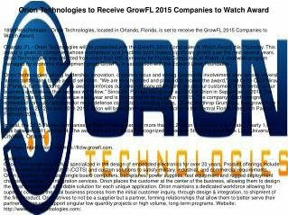 Orion Technologies to Receive GrowFL 2015 Companies to Watch Award