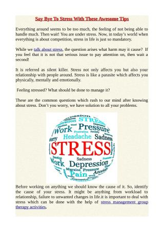 Say Bye To Stress With These Awesome Tips