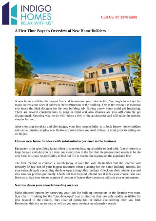 A First Time Buyer's Overview of New Home Builders