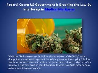 Federal Court: US Government Is Breaking the Law By Interfering in Medical Marijuana