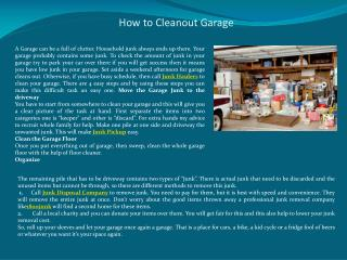 How to Cleanout Garage