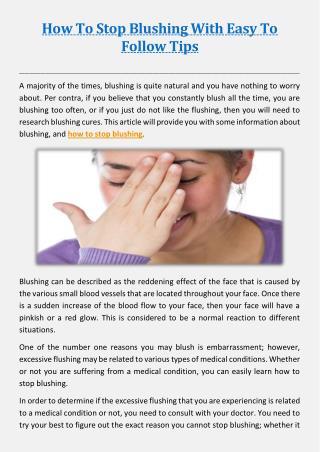 5 Tips for Beating Blushing