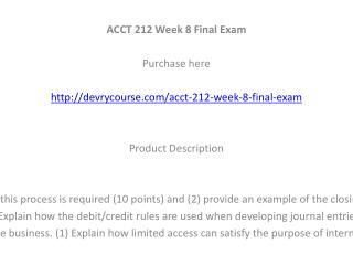 ACCT 212 Week 8 Final Exam