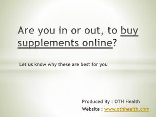 Buy Supplements Online - OTH Health