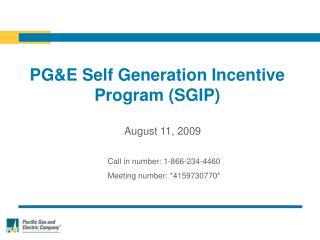 PGE Self Generation Incentive Program SGIP