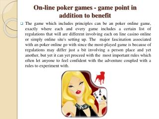 On-line poker games - game point in addition