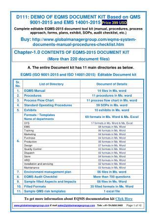 Documentation kit on EQMS