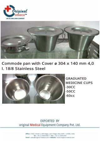 Presentation of Commode Bucket  Medicine cup by original-medical.com