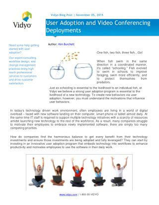 User Adoption and Video Conferencing Deployments - Vidyo