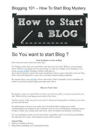 Blogging 101 - The Secret Behind How To Start Blog