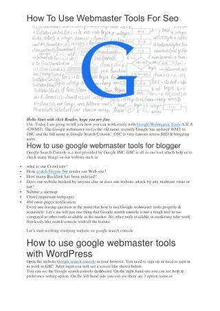 20 Effective Ways To Improve Your Webmaster Tools Skills