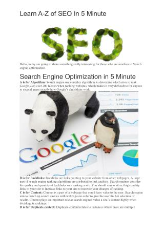 Learn A-Z Of Search Engine Optimization In 5 Minute