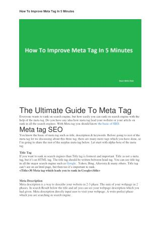 How To Improve Meta Tag In 5 Minutes Which help in SERP