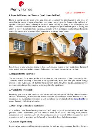 6 Essential Pointer to Choose a Good Home builder!