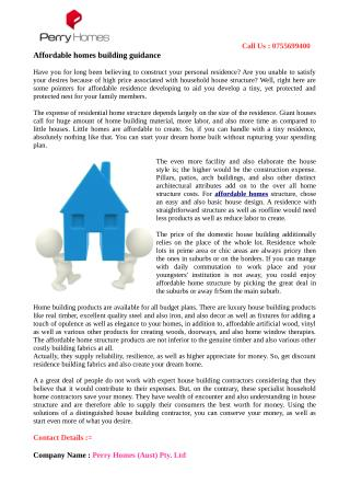 Affordable homes building guidance