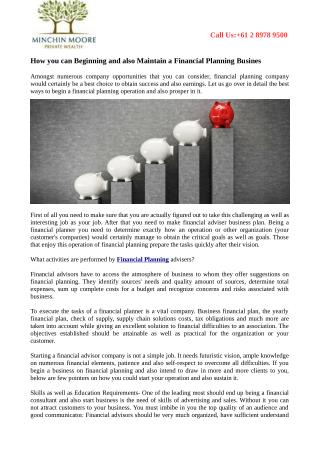 How you can Beginning and also Maintain a Financial Planning Busines