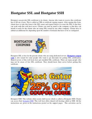 Hostgator SSL and Hostgator SSH