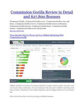 Commission Gorilla review and Commission Gorilla $11800 Bonus & Discount
